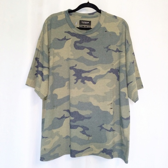 PacSun Other - PacSun Boxy Fit Camo Crew Neck Ripped Shirt XL